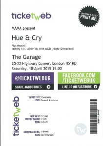HUE AND CRY TICKET