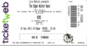 EDGAR WINTER TICKET
