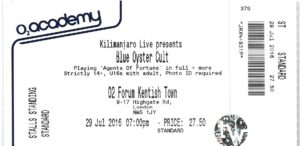 BLUE OYSTER CULT TICKET